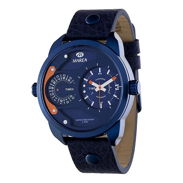 Marea brand watch, with Diesel type design, metallic blue color.