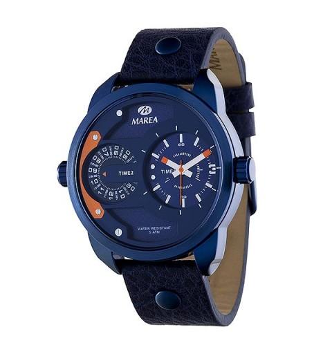 Reloj de la marca Marea, con diseño tipo Diesel, color azul metálico.