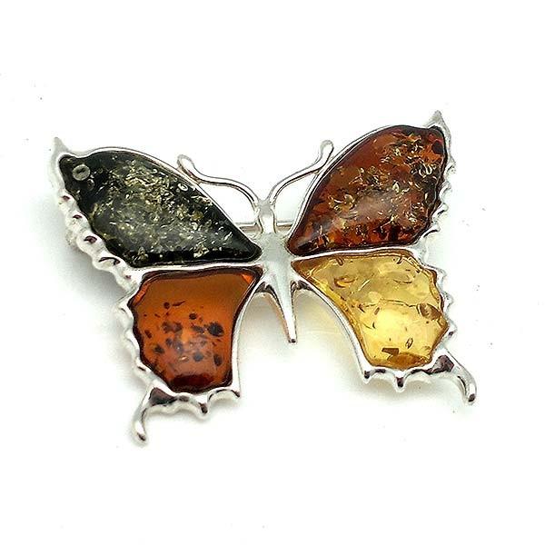 Broche mariposa, en plata y ámbar