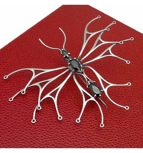 Silver brooch, openwork butterfly