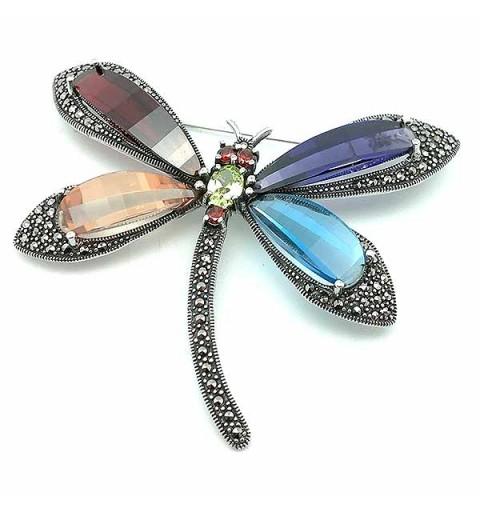 Dragonfly brooch, in sterling silver.
