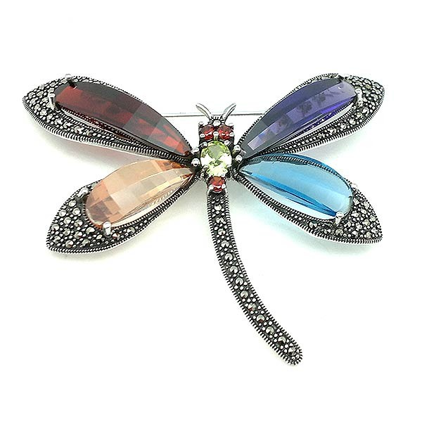 Dragonfly brooch, in sterling silver.