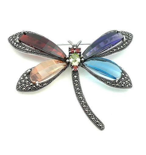 Broche libélula, en plata de ley.