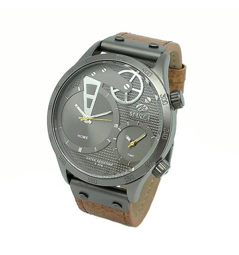 Men's watch, in gray and brown tones.