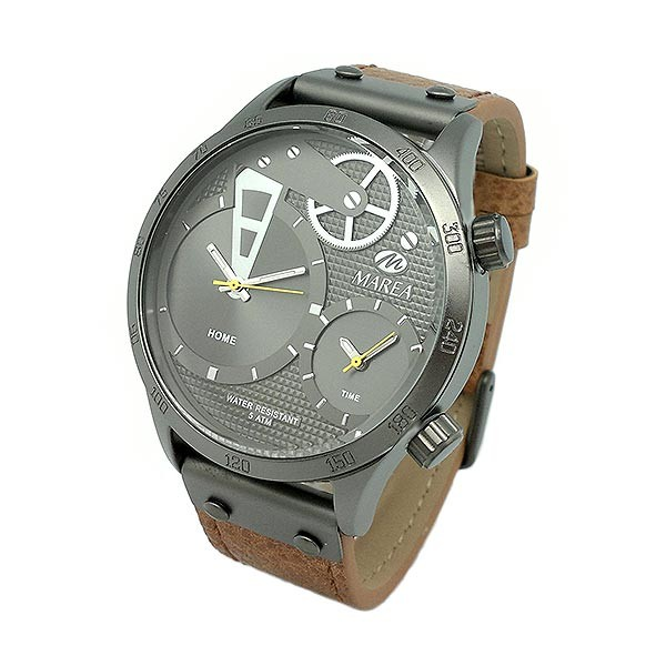 Men's watch, in gray and brown tones.