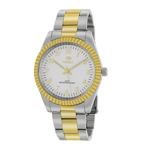 Reloj caballero clásico, plateado y dorado.