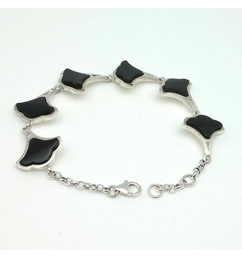 Bracelet, smooth silver and jet