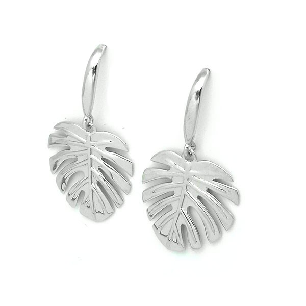 Leaf-shaped earrings, in sterling silver.