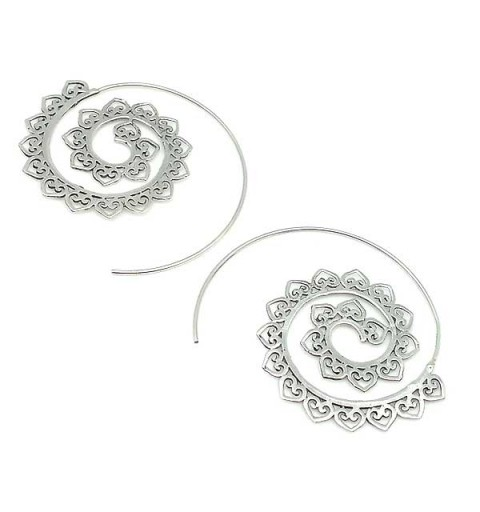 Silver hoops, spiral type.