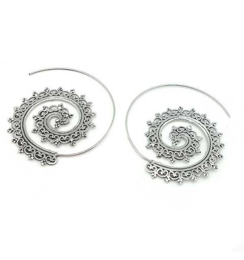 Filigree hoops, in sterling silver.