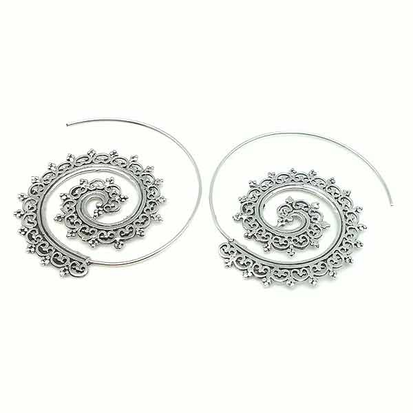 Filigree hoops, in sterling silver.