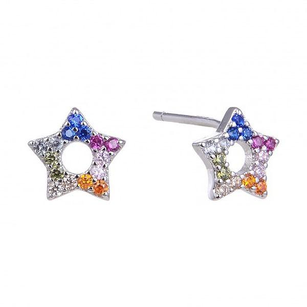 Pendientes de plata y circonitas, con forma de estrella.