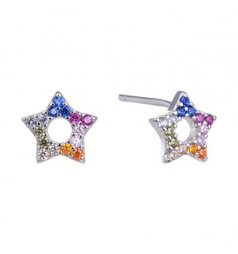 Silver earrings and zircons, star-shaped.