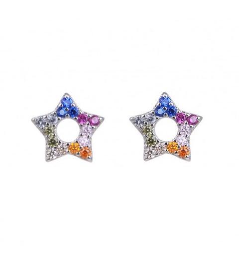 Star shaped earrings in sterling silver.
