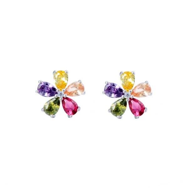Flower earrings, multicolored, sterling silver.