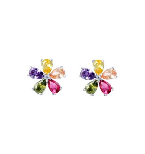 Flower earrings, multicolored, sterling silver.