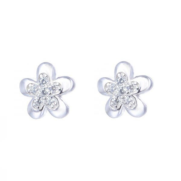 Earrings flower, silver and zircons.