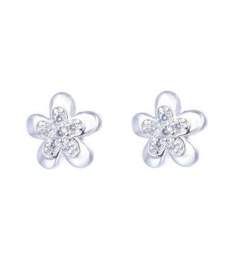 Earrings flower, silver and zircons.