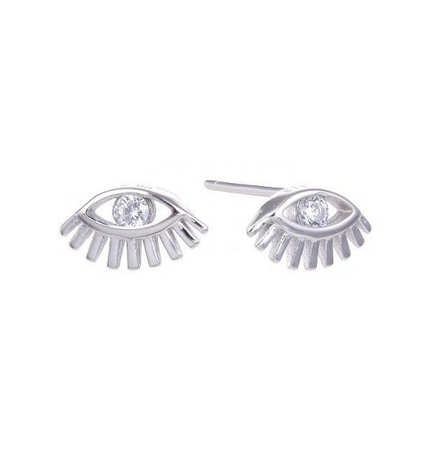 Small earrings, shaped like an eye, in silver and zirconia.