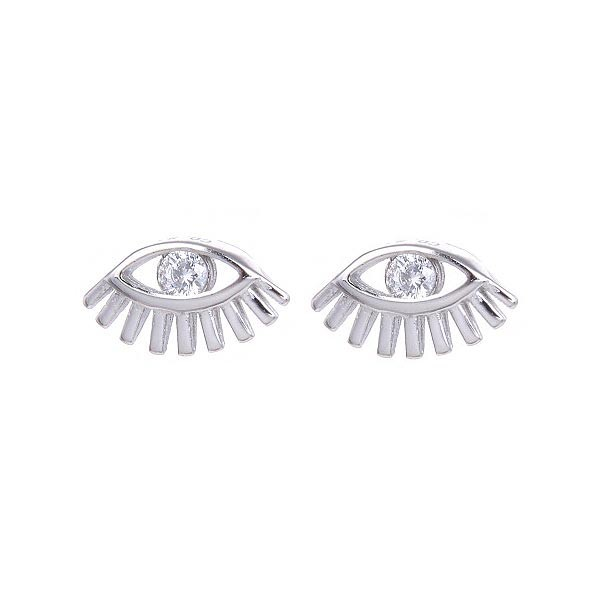 Small earrings, shaped like an eye, in silver and zirconia.