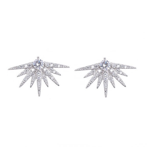 Half star earrings, in sterling silver.