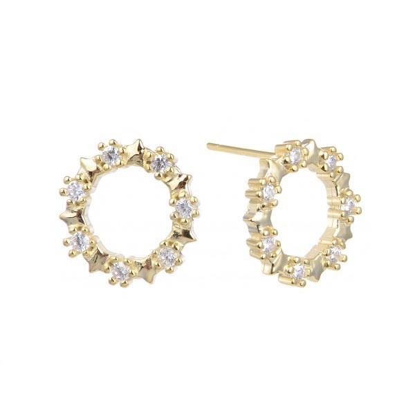 Earrings circles, gold.