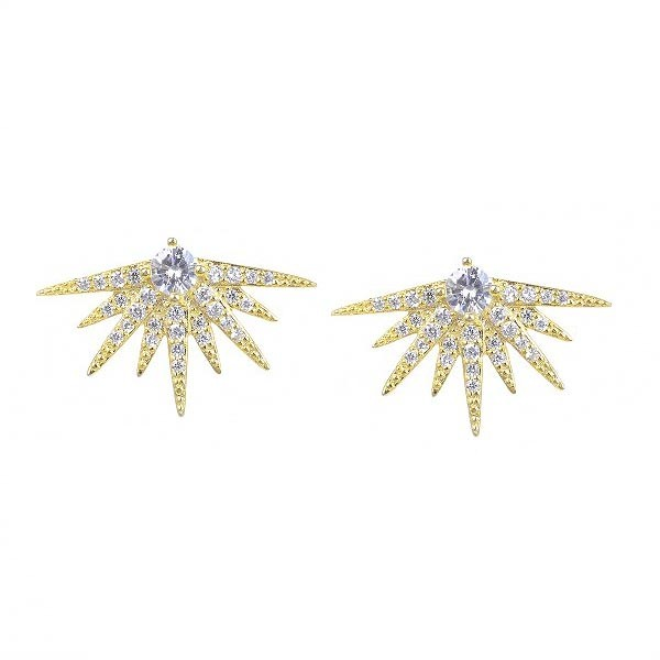 Half star earrings, gold.