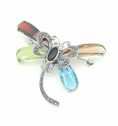 Dragonfly brooch in sterling silver.