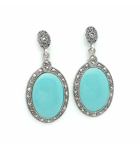 Earrings, silver and turquoise