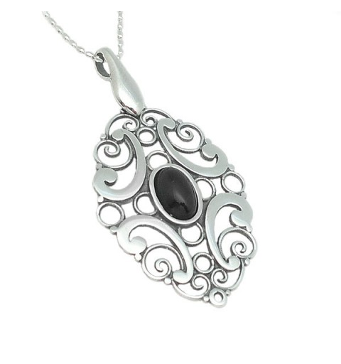 Pendant, silver and jet.