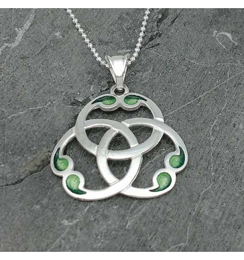 Celtic knot with triquette, in sterling silver.