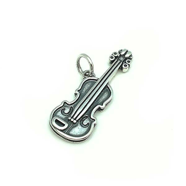 Violin pendant in sterling silver.