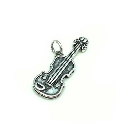 Colgante violín, en plata de ley.