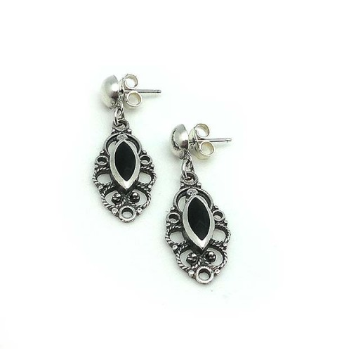 Earrings, silver and jet