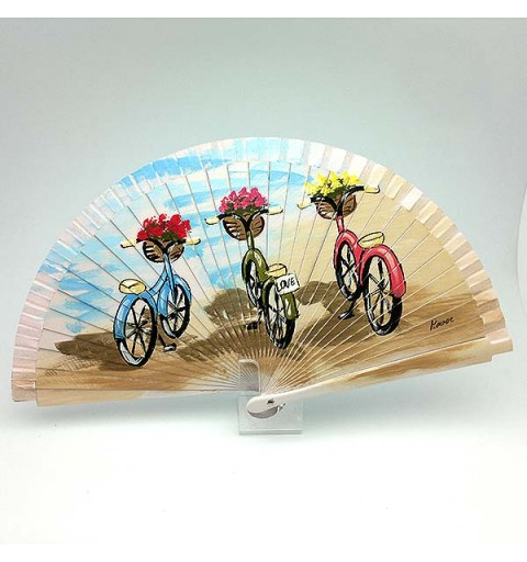 Fan, three bicycles.