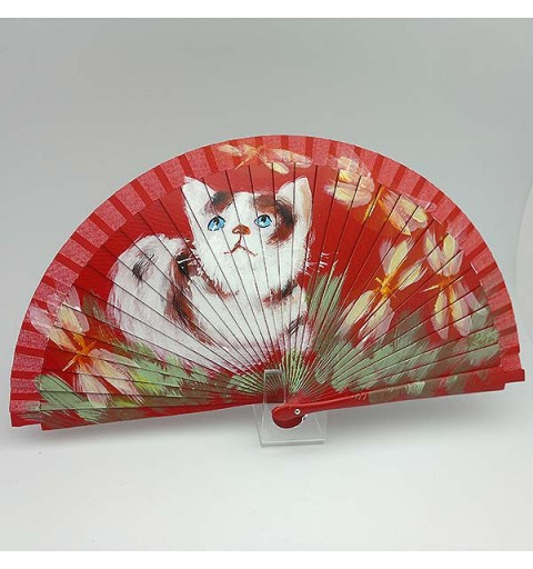 Fan in red tones, with a nice cat