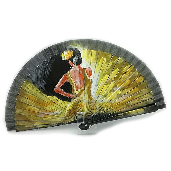 Flamenco fan, with yellow dress.