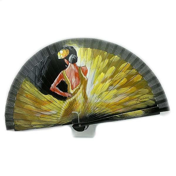 Abanico con flamenca, con vestido amarillo.