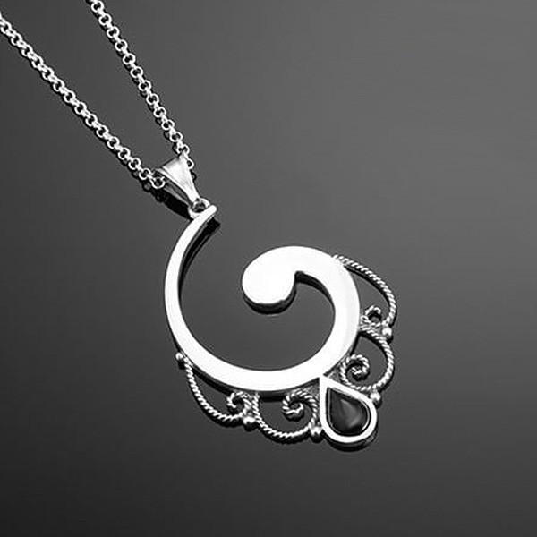 Colgante plata y azabache, media espiral.