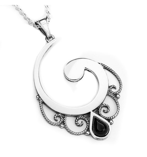 Silver and jet pendant, half spiral.