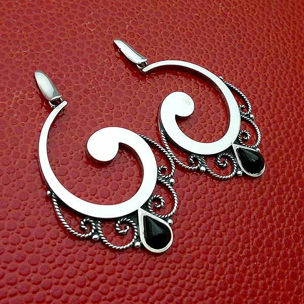 Sterling silver and jet earrings.