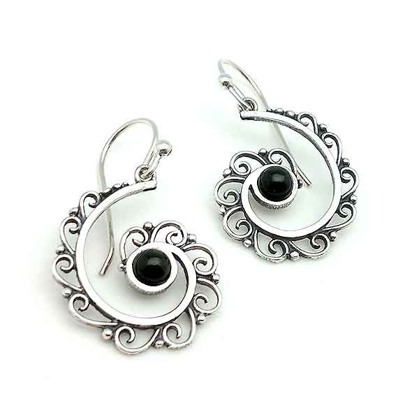 Half spiral earrings, made of sterling silver and jet.