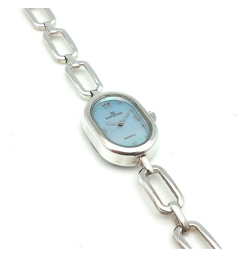 Sterling silver watch, with a pearly dial.