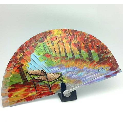 Wooden fan and hand painted, with a beautiful autumn print.