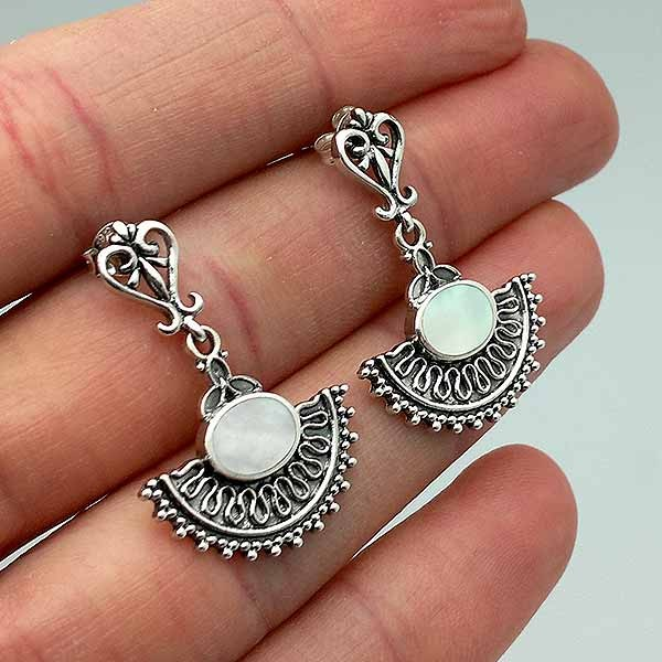 Earrings, sterling silver and mother of pearl.