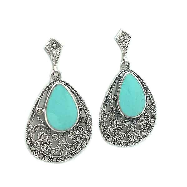 Earrings, sterling silver, turquoise and marcasites.
