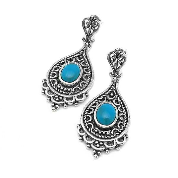 Ethnic style earrings, sterling silver and turquoise.