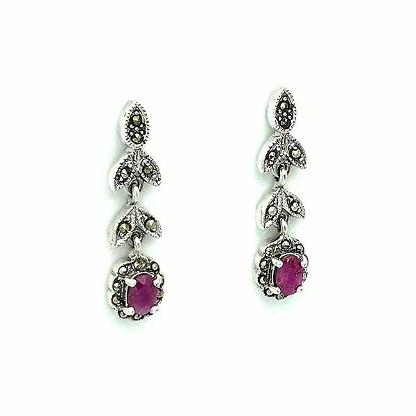 Antique type earrings, in sterling silver, rubies and marcasites.