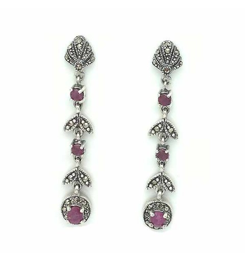 Long earrings, sterling silver, marcasites and rubies.