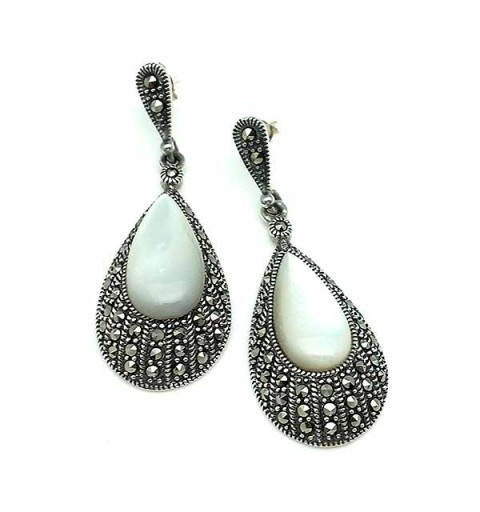 Silver, mother-of-pearl and marcasite earrings.
